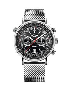 rotary-rotary-black-chronograph-dial-stainless-steel-mesh-strap-mens-watch