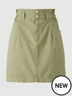 v-by-very-paper-bag-waist-denim-skirt-khaki