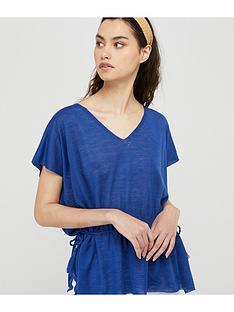 monsoon-demi-drawstring-linen-blend-top-blue