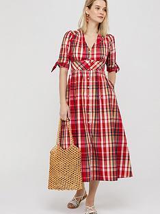monsoon-nila-check-organic-cotton-midi-dress-red