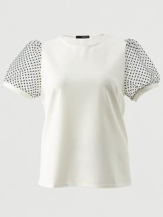 quiz-curve-polka-dot-organza-sleeve-top-cream