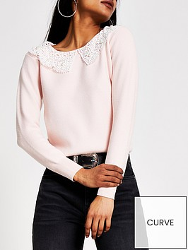 ri-petite-lace-collar-jumper-pink