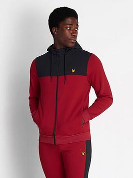 lyle-scott-fitness-full-zip-colour-breaker-tech-top-ruby