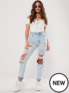 missguided-missguided-riot-light-vintage-distress-mom-jeans-blue