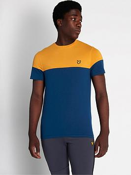 lyle-scott-fitness-chest-block-t-shirt-navyyellow