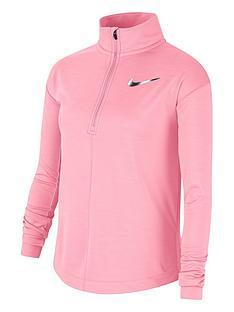 nike-older-childrensnbsprun-long-sleeve-half-zip-top-pink