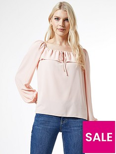 dorothy-perkins-frill-trimnbsplong-sleeve-top-pink