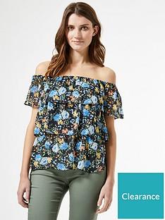dorothy-perkins-tiered-cluster-floral-off-shoulder-top-navy