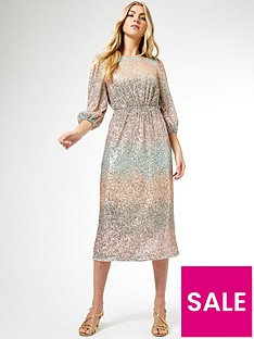 dorothy-perkins-ombre-sequin-midi-dress-blush