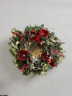 traditional-pre-lit-red-magnolia-christmas-wreath