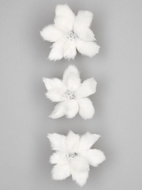 set-of-3-faux-fur-poinsettia-christmasnbsptree-clips-white