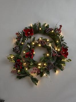 9ft-new-england-pre-lit-red-magnolia-christmas-garlandnbsp