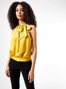 dorothy-perkins-ochre-satin-halter-top-yellow