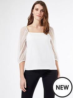 dorothy-perkins-squarenbspneck-dobby-mesh-half-sleeve-top-white