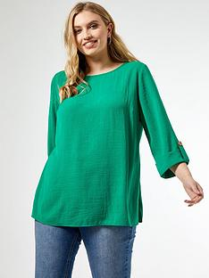 dorothy-perkins-curve-button-cuff-top-green