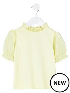 river-island-mini-mini-girls-organza-short-sleeve-top-yellow