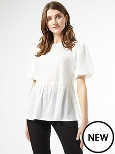 dorothy-perkins-textured-puff-sleeve-peplum-t-shirt-white
