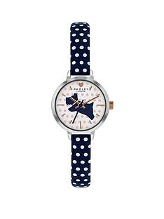 radley-radley-white-and-blue-dog-detail-dial-blue-and-white-spot-leather-strap-ladies-watch