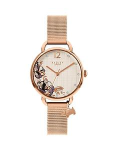 radley-ry4526-silver-and-rose-gold-floral-dial-with-charm-rose-gold-stainless-steel-mesh-strap-ladies-watch