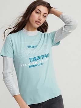 superdry-organic-cotton-premium-goods-label-outline-t-shirt-green