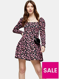 topshop-floral-long-sleeve-shirred-waist-mini-dress-multi