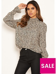 ax-paris-high-neck-spotty-top-beige