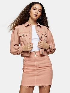 topshop-puff-sleeve-denim-jacket-pink