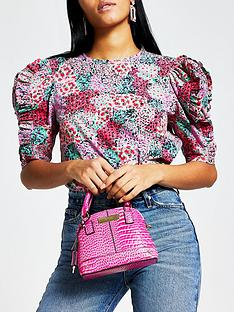 river-island-printed-frill-sleeve-poplin-top-pink