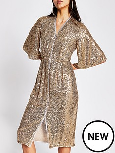 river-island-sequin-kimono-sleeve-midi-dress-gold