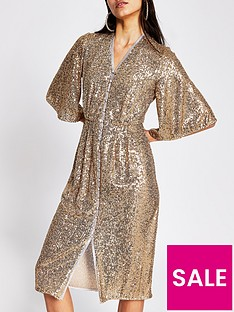 river-island-sequin-kimono-sleeve-midi-dress-gold
