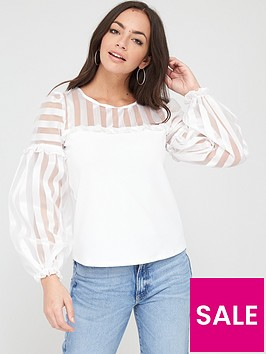 river-island-organza-stripe-sleeve-blouse-white
