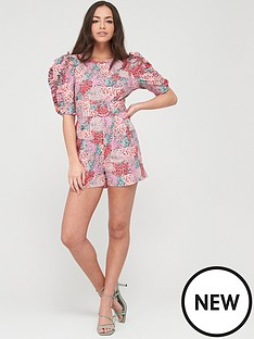 river-island-printed-puff-sleeve-cotton-playsuit-pink