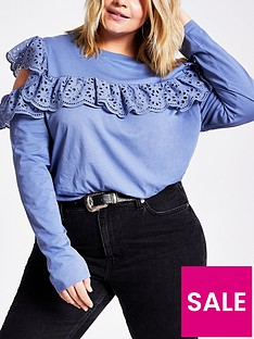 ri-plus-cold-shoulder-broderie-frill-top-blue