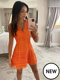 michelle-keegan-sleeveless-lace-skater-dress-orange