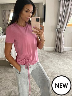 michelle-keegan-ruched-front-t-shirt-pink