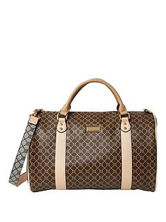 river-island-brown-monogram-duffle-wekeend-bag