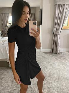 michelle-keegan-ruched-side-t-shirt-dress-black