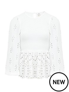 river-island-broderie-detail-shirred-top-white
