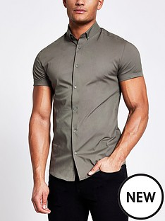 river-island-short-sleevenbspmuscle-fit-shirt-khaki