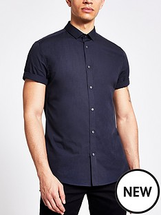 river-island-short-sleeved-shirt-navy