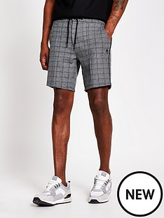 river-island-dory-check-shorts-grey
