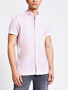 river-island-short-sleevednbspoxford-shirt--nbsplight-pink