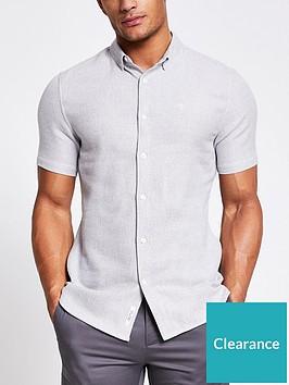 river-island-short-sleevenbsptexture-shirt-light-grey