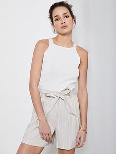 mint-velvet-striped-paperbag-shorts-beige