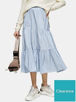 topshop-taffeta-tiered-midi-skirt-blue