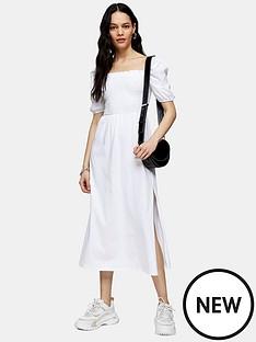 topshop-shirred-midi-dress-whitenbsp