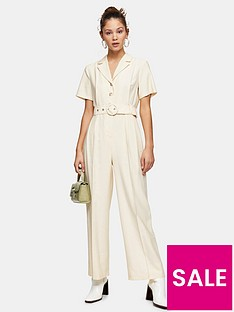 topshop-sadie-belted-short-sleeve-jumpsuit-cream