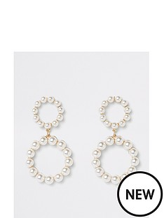 river-island-river-island-pearl-ring-double-drop-earrings-white