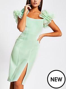 river-island-ruffle-organza-sleeve-bardot-midi-dress-mint