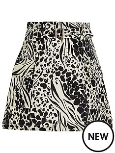 river-island-girls-animal-print-belted-utility-skirt--black